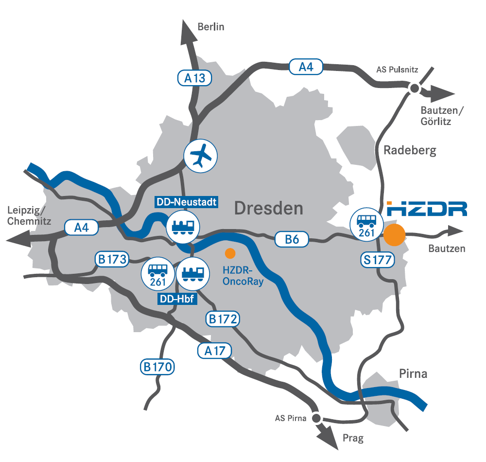 Map of how to get to HZDR