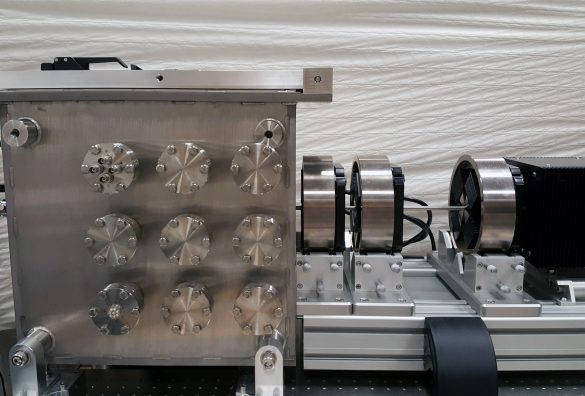 The MeV ion nanoprobe setup at Atomki features new generation quadrupole magnets in a spaced triple configuration. (Oxford Microbeams Ltd.) © Atomki / I. Rajta